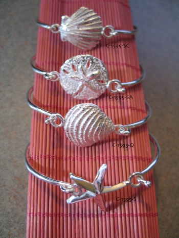 shell bangles in sterling silver