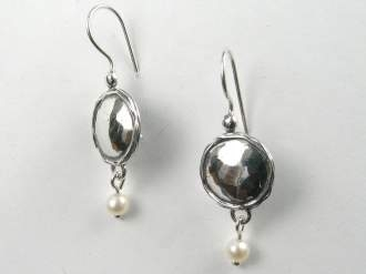 sterling circles and pearl drop earrings by Tamir Zuman-0