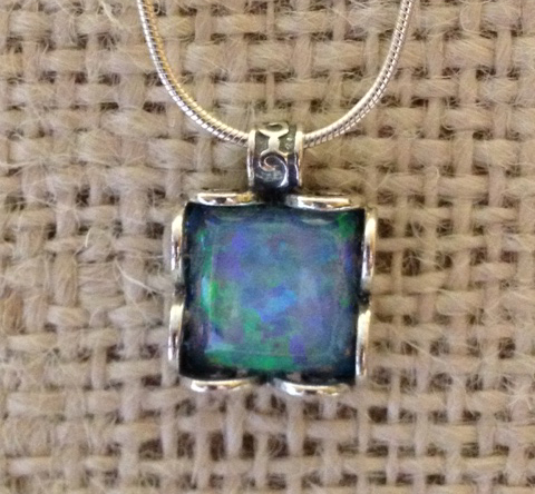 opal in sterling silver square frame necklace by Tamir Zuman