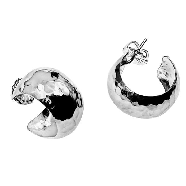 hammered wide hoop earrings