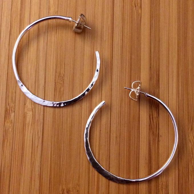half hammered sterling silver hoop earrings