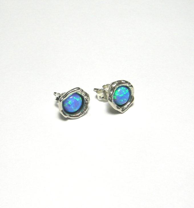 opal stud earrings in sterling by Tamir Zuman