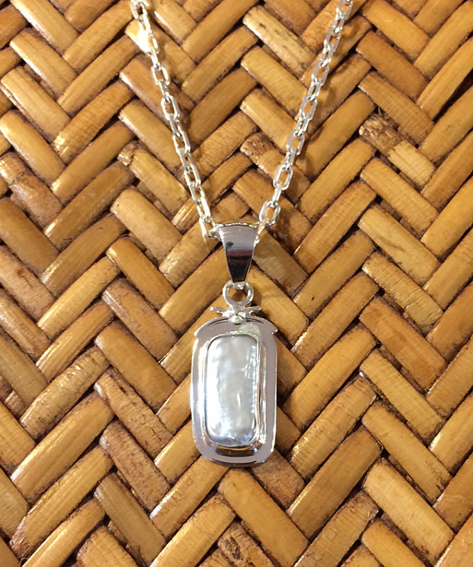 biwa pearl in sterling setting pendant