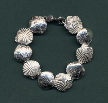 scallop and quahog sterling bracelet