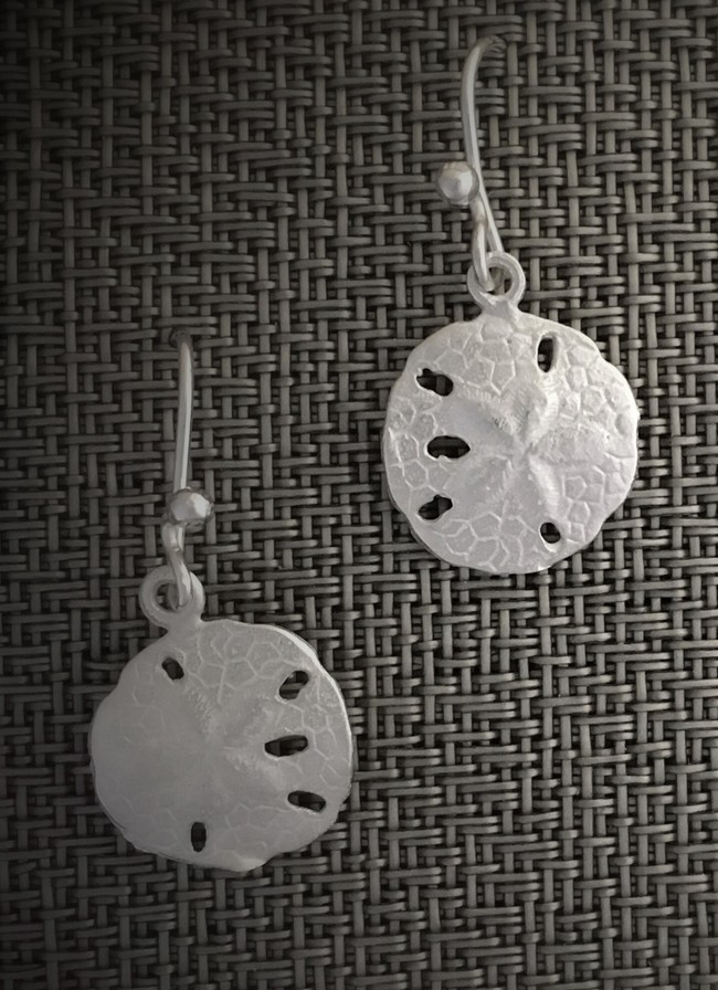 sterling sand dollar earrings french wires