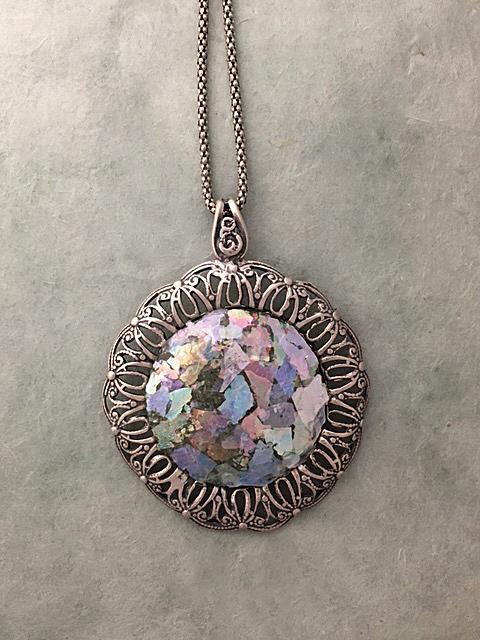 Roman Glass round necklace by Tamir Zuman