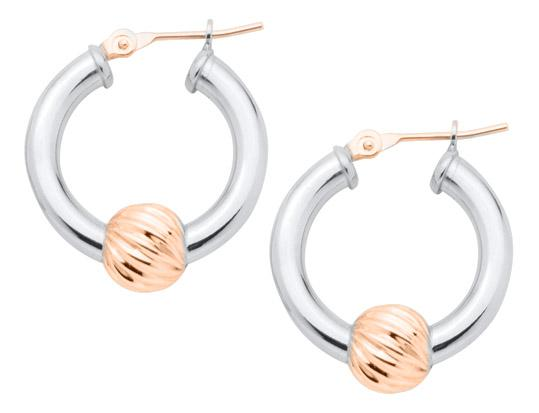 The Cape Cod Jewelry® swirl bead earrings, with 14kt rose gold