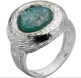 etched sterling & Roman Glass ring by Ithil
