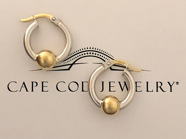Cape Cod Jewelry ™ extra small earring sterling & 14K gold