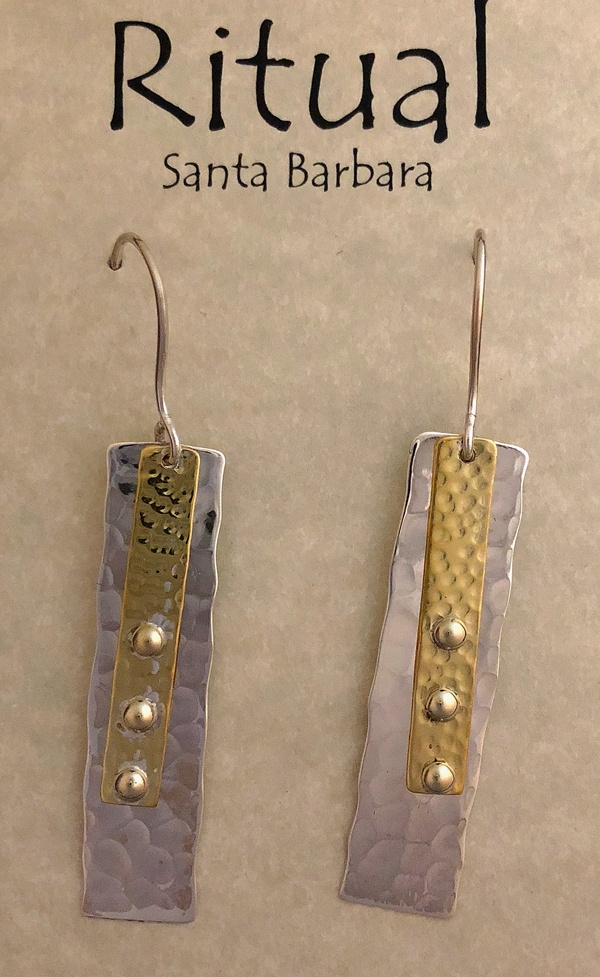 long rectangle earrings by Ritual Jewelry