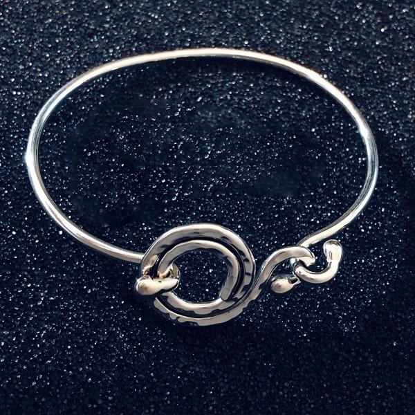 hammered circles sterling bracelet