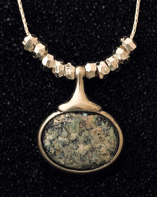horizontal Roman Glass necklace by Ithil Metalworks
