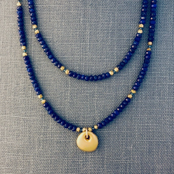 lapis beaded double strand necklace with gold filled charm