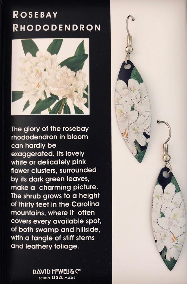 rosebay rhododendron drop earrings by David Howell