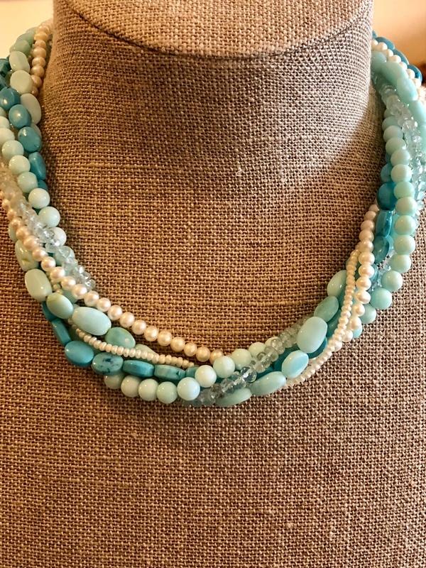 multi strand turquoise torsade necklace