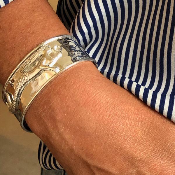 mermaid bracelet on model