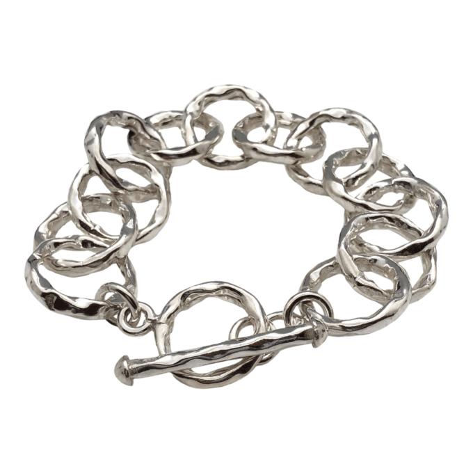 hammered circle toggle bracelet