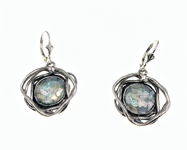 rond roman glass set in chunky sterling birds nest earrings