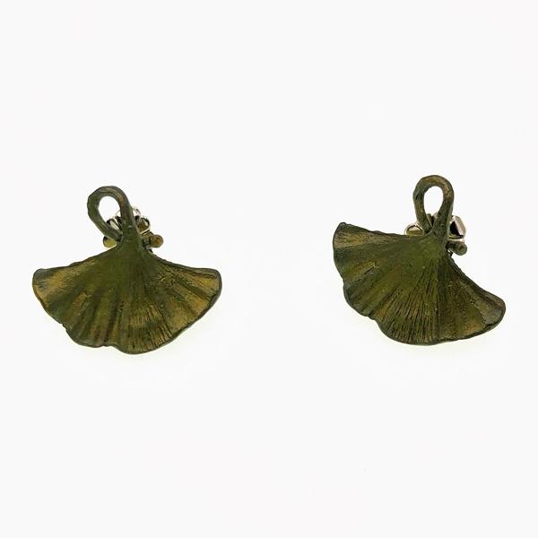 bronze gingko earrings