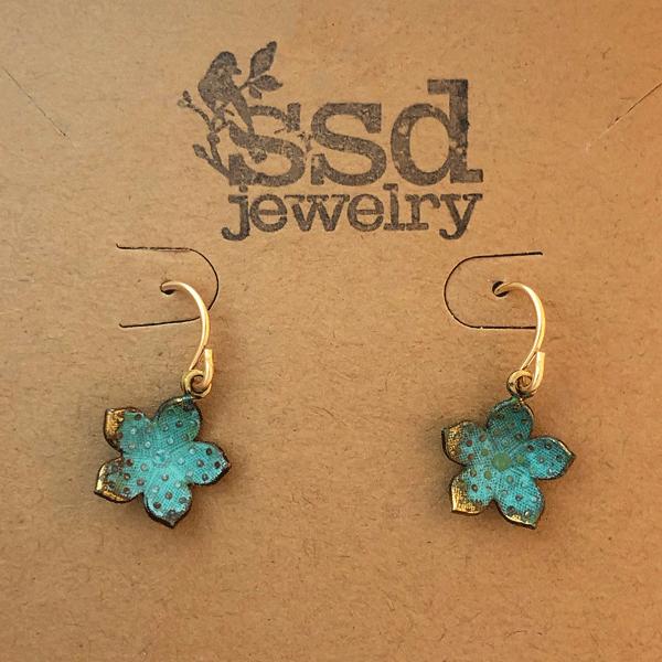 verdigris flower earrings