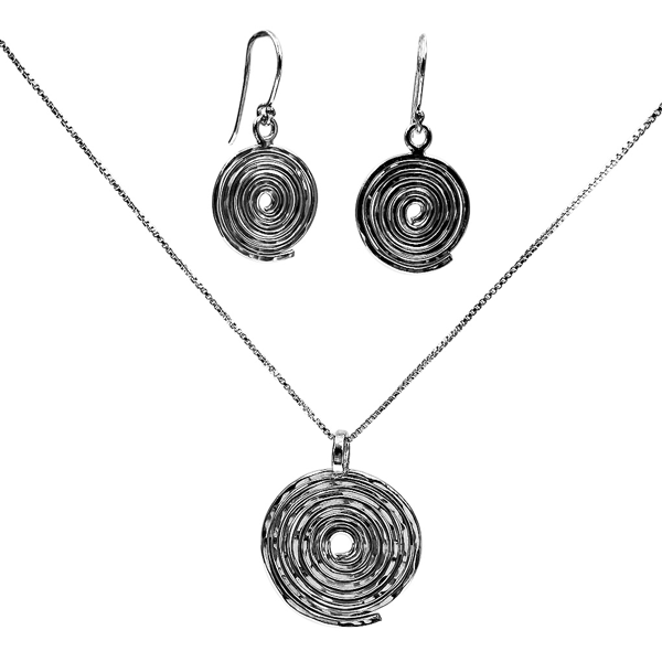 spiral earrings and necklace